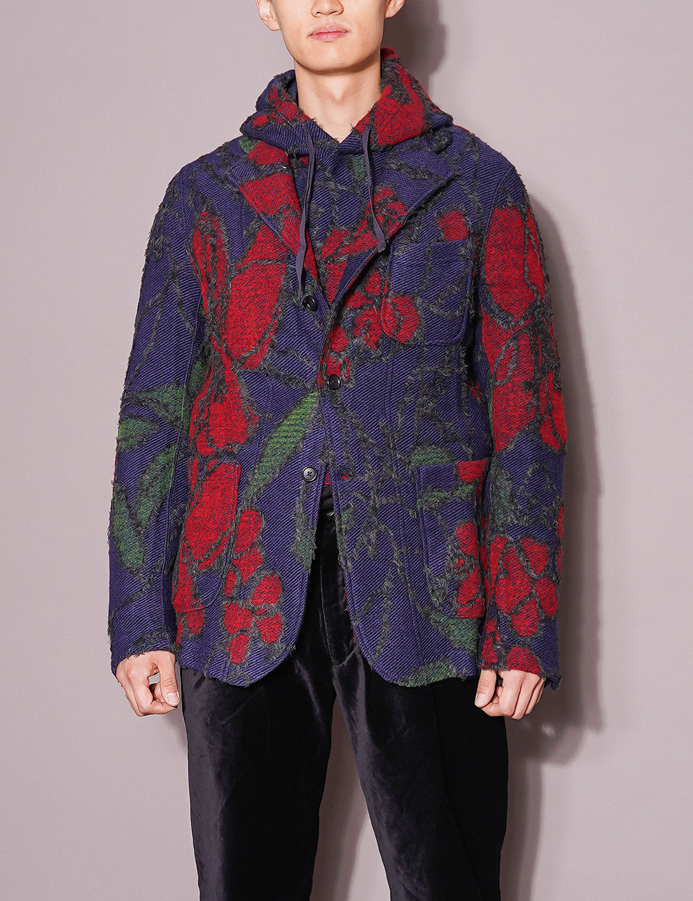 Engineered Garments : KNIT JACKET (NAVY/RED)