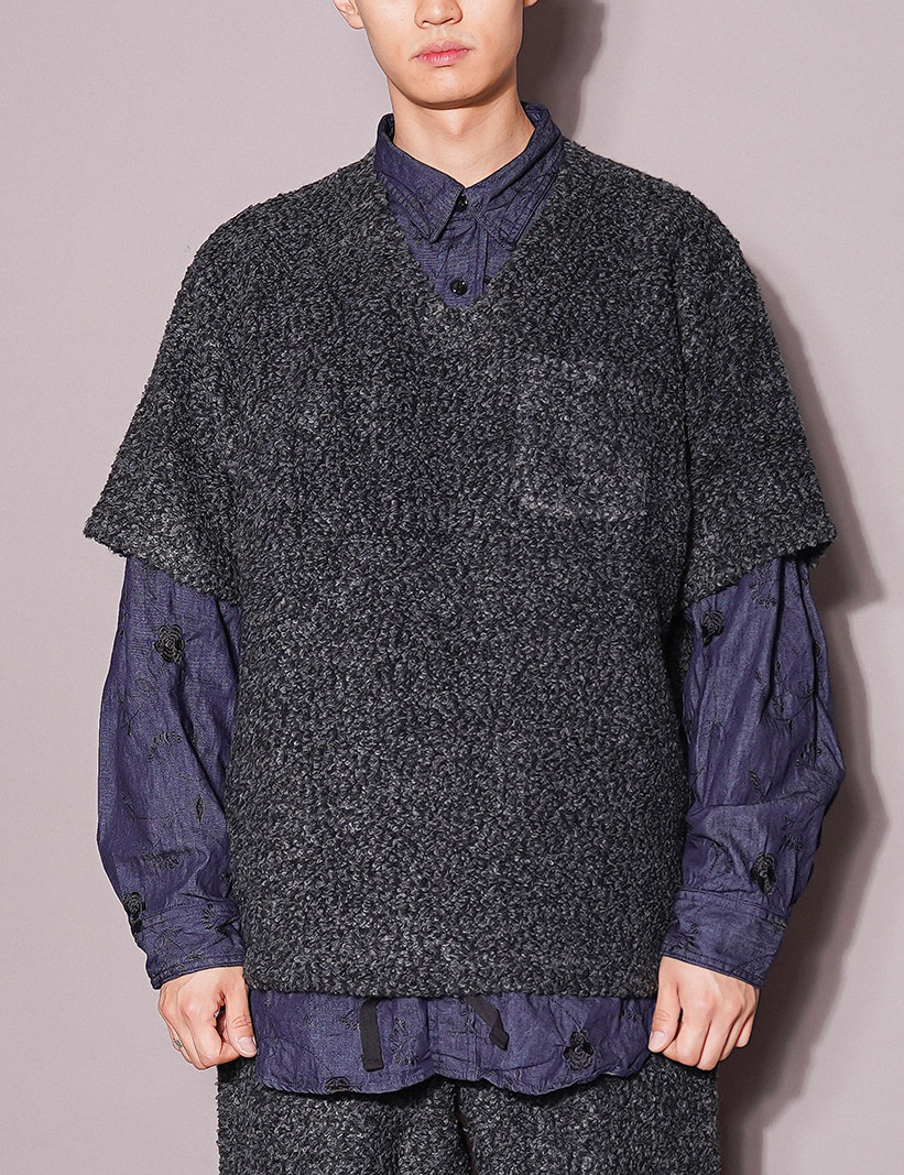 Engineered Garments : U NECK POPOVER (CHARCOAL)