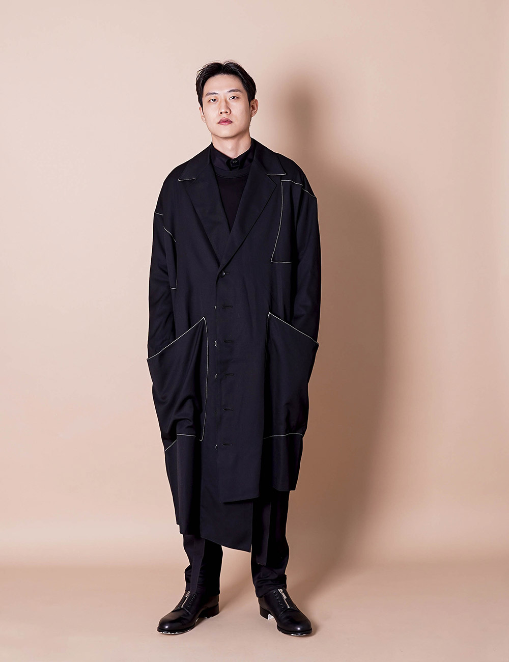 sulvam : GABARDINE OVER COAT (BLACK)