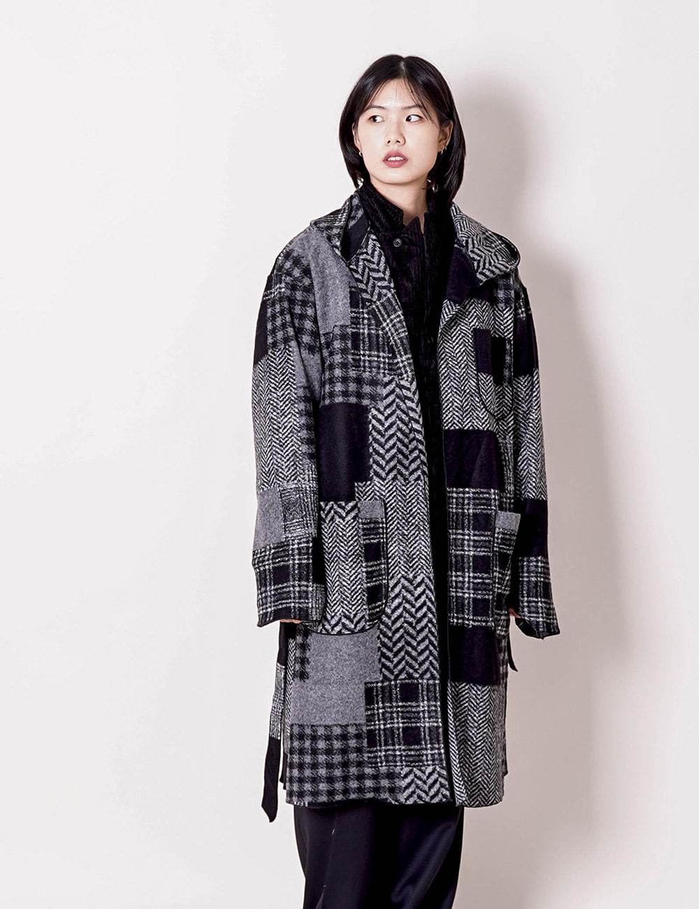 Engineered Garments : KNIT ROBE (BLACK/GREY)