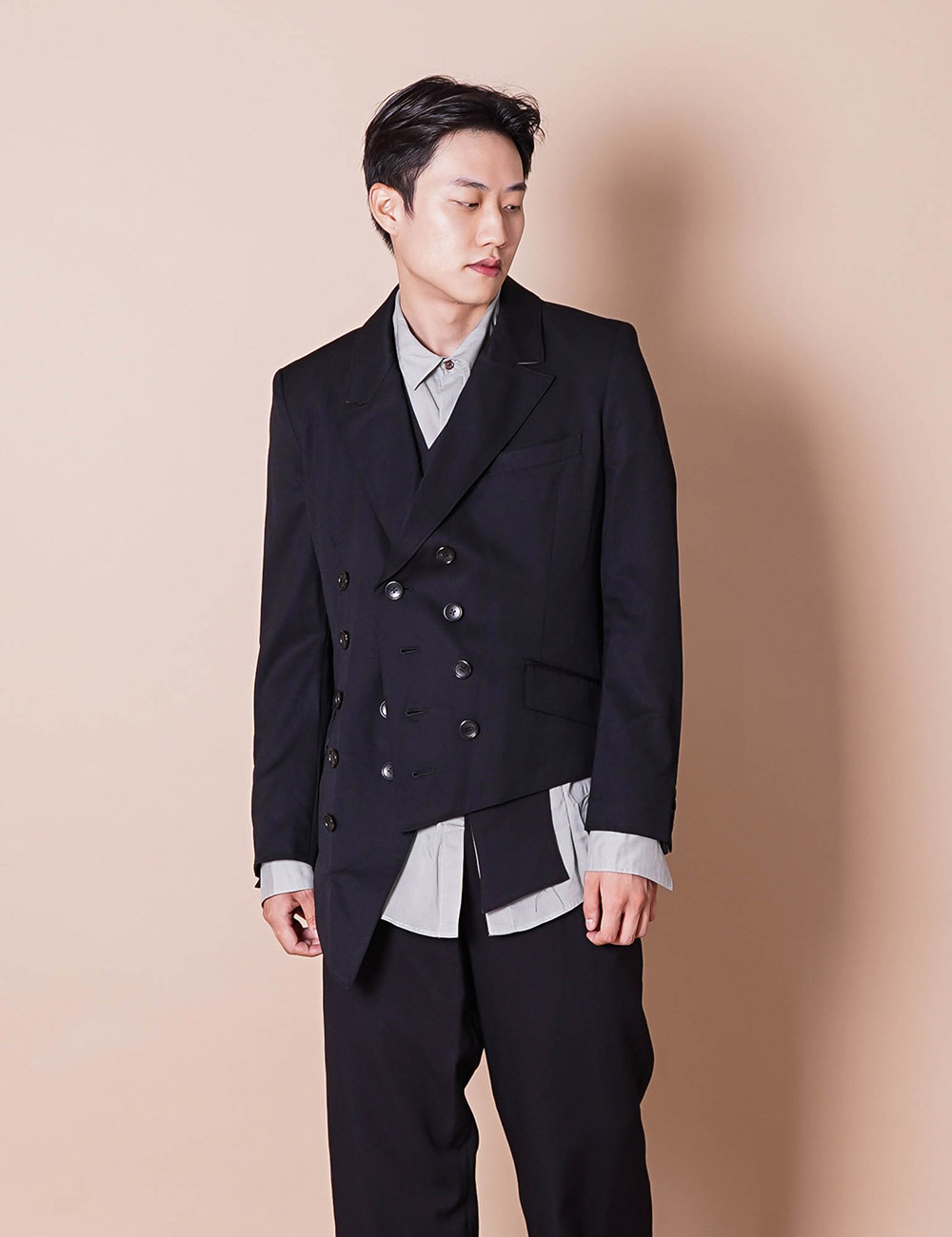 sulvam : GABARDINE DOUBLE JACKET (BLACK)